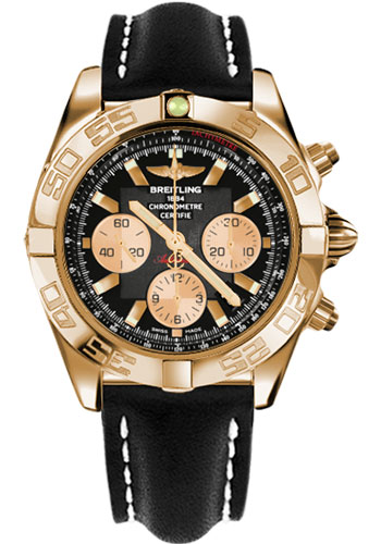 Breitling Watches - Chronomat 44 Rose Gold Polished Bezel - Leather Strap - Tang - Style No: HB011012/B968-leather-black-tang