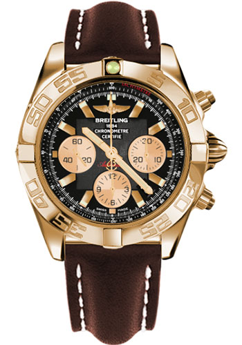 Breitling Watches - Chronomat 44 Rose Gold Polished Bezel - Leather Strap - Tang - Style No: HB011012/B968-leather-brown-tang