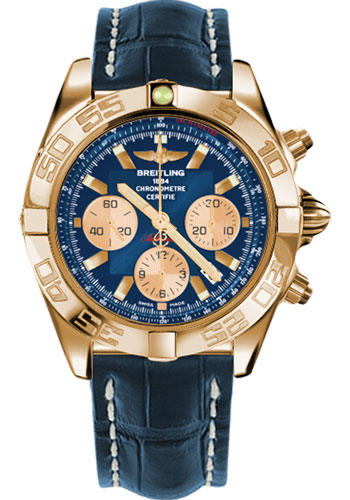 Breitling Watches - Chronomat 44 Rose Gold Polished Bezel - Croco Strap - Tang - Style No: HB011012/C790-croco-blue-tang