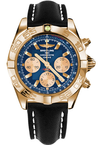 Breitling Watches - Chronomat 44 Rose Gold Polished Bezel - Leather Strap - Tang - Style No: HB011012/C790-leather-black-tang