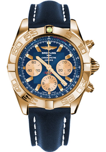 Breitling Watches - Chronomat 44 Rose Gold Polished Bezel - Leather Strap - Tang - Style No: HB011012/C790-leather-blue-tang