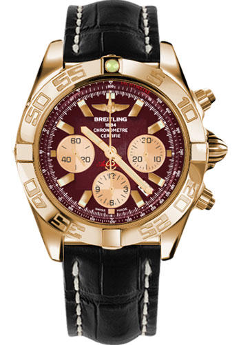 Breitling Watches - Chronomat 44 Rose Gold Polished Bezel - Croco Strap - Tang - Style No: HB011012/K524-croco-black-tang