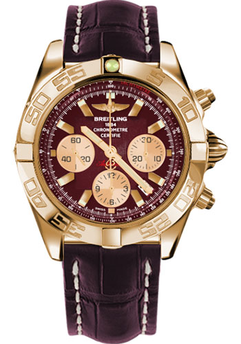 Breitling Watches - Chronomat 44 Rose Gold Polished Bezel - Croco Strap - Tang - Style No: HB011012/K524-croco-burgundy-tang