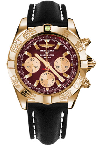 Breitling Watches - Chronomat 44 Rose Gold Polished Bezel - Leather Strap - Tang - Style No: HB011012/K524-leather-black-tang
