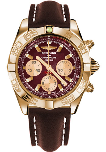 Breitling Watches - Chronomat 44 Rose Gold Polished Bezel - Leather Strap - Tang - Style No: HB011012/K524-leather-brown-tang