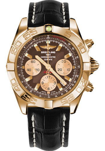Breitling Watches - Chronomat 44 Rose Gold Polished Bezel - Croco Strap - Tang - Style No: HB011012/Q576-croco-black-tang