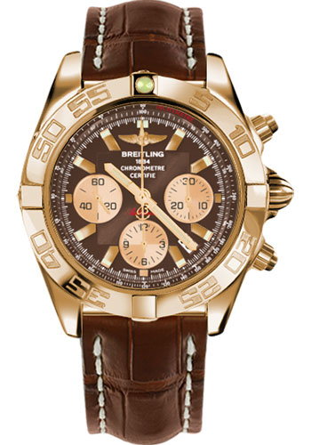 Breitling Watches - Chronomat 44 Rose Gold Polished Bezel - Croco Strap - Tang - Style No: HB011012/Q576-croco-brown-tang