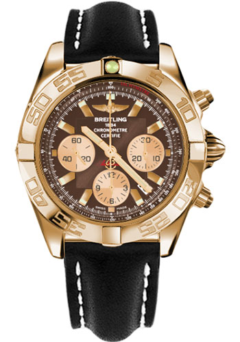 Breitling Watches - Chronomat 44 Rose Gold Polished Bezel - Leather Strap - Tang - Style No: HB011012/Q576-leather-black-tang