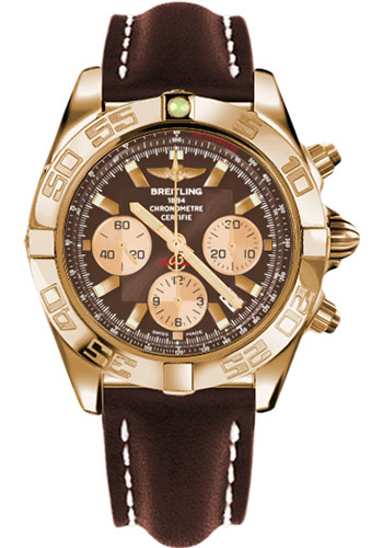 Breitling Watches - Chronomat 44 Rose Gold Polished Bezel - Leather Strap - Tang - Style No: HB011012/Q576-leather-brown-tang