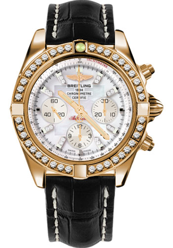 Breitling Watches - Chronomat 44 Rose Gold Dia Bezel - Croco Strap - Deployant - Style No: HB011059/A698-croco-black-deployant