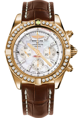 Breitling Watches - Chronomat 44 Rose Gold Dia Bezel - Croco Strap - Deployant - Style No: HB011059/A698-croco-brown-deployant