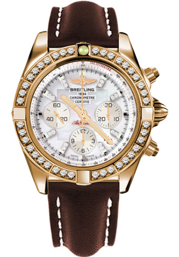 Breitling Watches - Chronomat 44 Rose Gold Dia Bezel - Leather Strap - Deployant - Style No: HB011059/A698-leather-brown-deployant