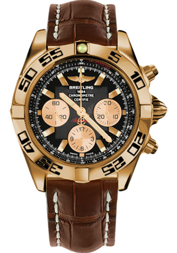 Breitling Watches - Chronomat 44 Rose Gold Black Numbered Bezel - Croco Strap - Deployant - Style No: HB0110C1/B968-croco-brown-deployant