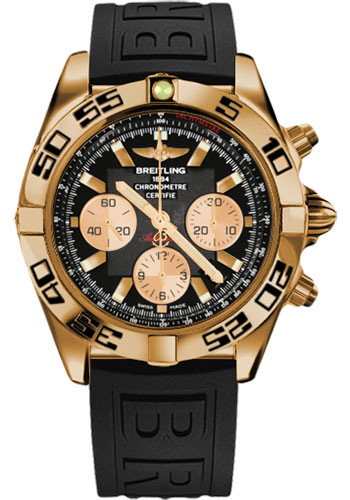 Breitling Watches - Chronomat 44 Rose Gold Black Numbered Bezel - Rubber Strap - Deployant - Style No: HB0110C1/B968-diver-pro-iii-black-folding