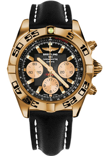 Breitling Watches - Chronomat 44 Rose Gold Black Numbered Bezel - Leather Strap - Deployant - Style No: HB0110C1/B968-leather-black-deployant