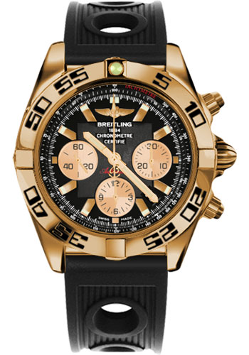 Breitling Watches - Chronomat 44 Rose Gold Black Numbered Bezel - Rubber Strap - Deployant - Style No: HB0110C1/B968-ocean-racer-black-folding