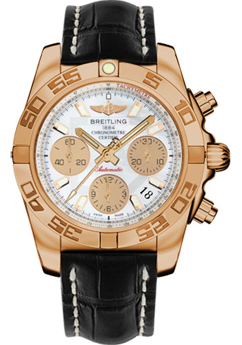 Breitling Watches - Chronomat 41 Rose Gold Polished Bezel - Croco Strap - Tang - Style No: HB014012/A722-croco-black-tang
