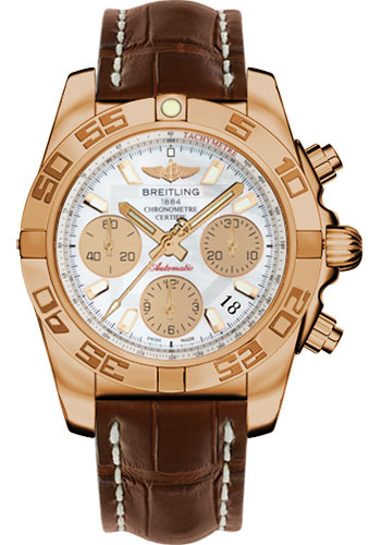 Breitling Watches - Chronomat 41 Rose Gold Polished Bezel - Croco Strap - Deployant - Style No: HB014012/A722-croco-brown-deployant