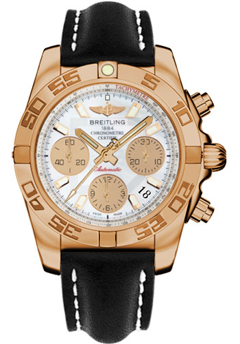 Breitling Watches - Chronomat 41 Rose Gold Polished Bezel - Leather Strap - Tang - Style No: HB014012/A722-leather-black-tang
