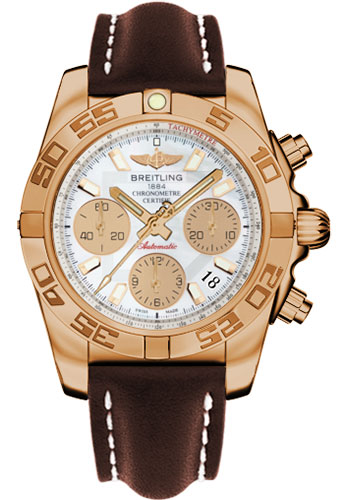 Breitling Watches - Chronomat 41 Rose Gold Polished Bezel - Leather Strap - Deployant - Style No: HB014012/A722-leather-brown-deployant