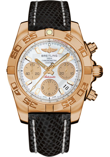 Breitling Watches - Chronomat 41 Rose Gold Polished Bezel - Lizard Strap - Tang - Style No: HB014012/A722-lizard-black-tang