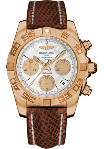 Breitling Watches - Chronomat 41 Rose Gold Polished Bezel - Lizard Strap - Deployant - Style No: HB014012/A722-lizard-brown-deployant