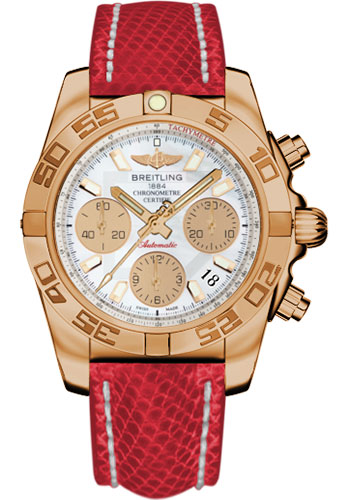 Breitling Watches - Chronomat 41 Rose Gold Polished Bezel - Lizard Strap - Deployant - Style No: HB014012/A722-lizard-red-deployant