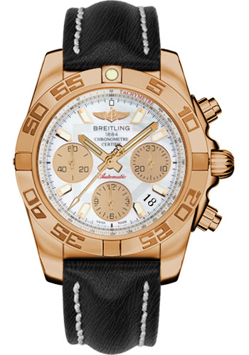 Breitling Watches - Chronomat 41 Rose Gold Polished Bezel - Sahara Leather Strap - Style No: HB014012/A722-sahara-black-tang