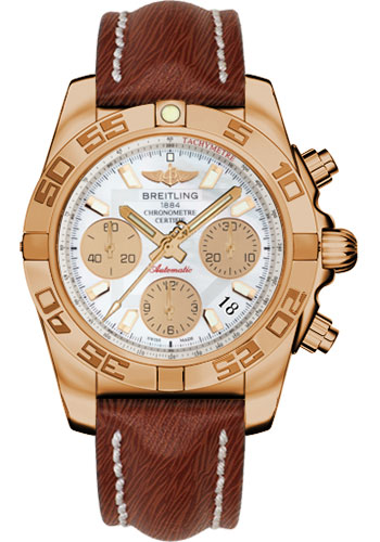 Breitling Watches - Chronomat 41 Rose Gold Polished Bezel - Sahara Leather Strap - Style No: HB014012/A722-sahara-brown-tang