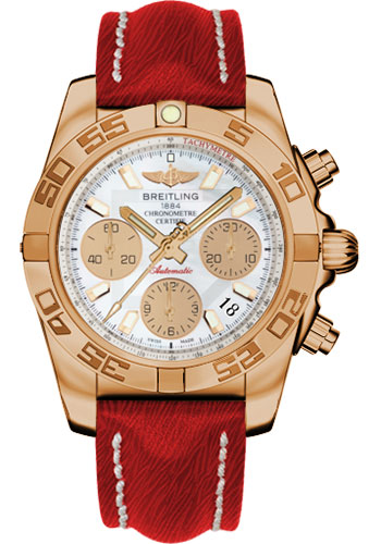 Breitling Watches - Chronomat 41 Rose Gold Polished Bezel - Sahara Leather Strap - Style No: HB014012/A722-sahara-red-tang