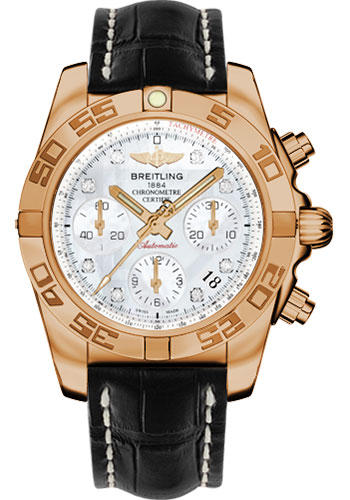 Breitling Watches - Chronomat 41 Rose Gold Polished Bezel - Croco Strap - Tang - Style No: HB014012/A723-croco-black-tang