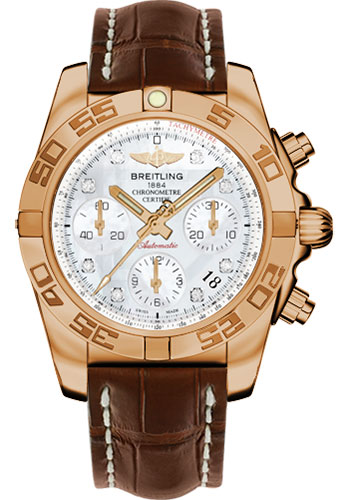 Breitling Watches - Chronomat 41 Rose Gold Polished Bezel - Croco Strap - Tang - Style No: HB014012/A723-croco-brown-tang