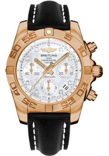 Breitling Watches - Chronomat 41 Rose Gold Polished Bezel - Leather Strap - Tang - Style No: HB014012/A723-leather-black-tang