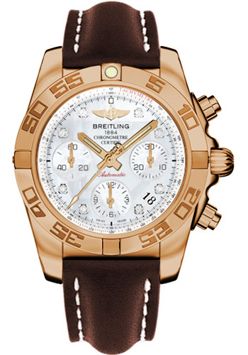 Breitling Watches - Chronomat 41 Rose Gold Polished Bezel - Leather Strap - Deployant - Style No: HB014012/A723-leather-brown-deployant