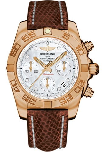 Breitling Watches - Chronomat 41 Rose Gold Polished Bezel - Lizard Strap - Deployant - Style No: HB014012/A723-lizard-brown-deployant