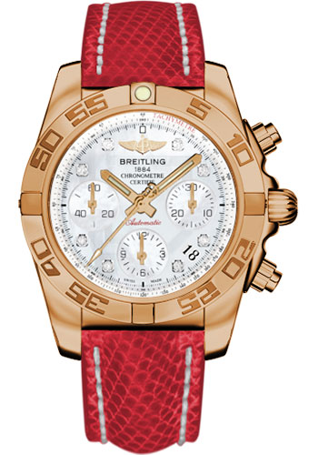 Breitling Watches - Chronomat 41 Rose Gold Polished Bezel - Lizard Strap - Tang - Style No: HB014012/A723-lizard-red-tang