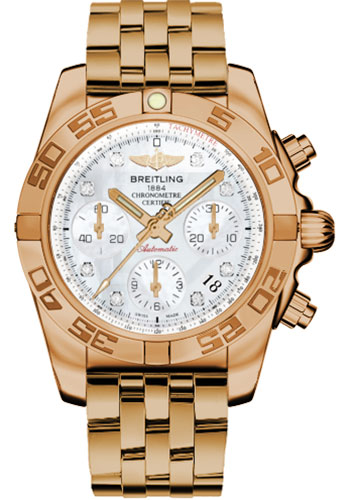Breitling Watches - Chronomat 41 Rose Gold Polished Bezel - Pilot Bracelet - Style No: HB014012/A723-pilot-rose-gold
