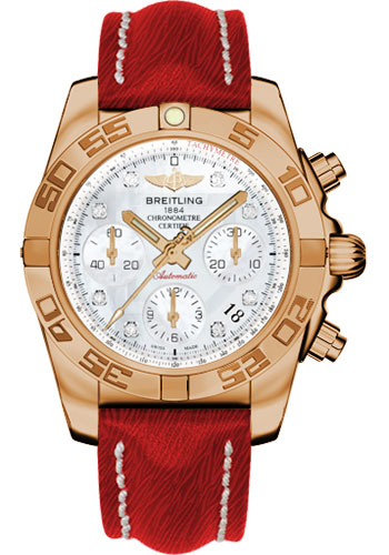 Breitling Watches - Chronomat 41 Rose Gold Polished Bezel - Sahara Leather Strap - Style No: HB014012/A723-sahara-red-tang