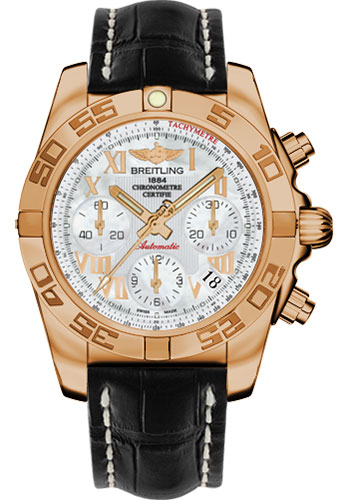 Breitling Watches - Chronomat 41 Rose Gold Polished Bezel - Croco Strap - Deployant - Style No: HB014012/A748-croco-black-deployant