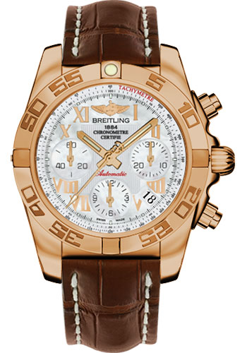 Breitling Watches - Chronomat 41 Rose Gold Polished Bezel - Croco Strap - Tang - Style No: HB014012/A748-croco-brown-tang
