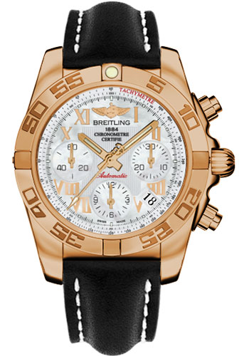 Breitling Watches - Chronomat 41 Rose Gold Polished Bezel - Leather Strap - Tang - Style No: HB014012/A748-leather-black-tang