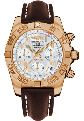 Breitling Watches - Chronomat 41 Rose Gold Polished Bezel - Leather Strap - Deployant - Style No: HB014012/A748-leather-brown-deployant