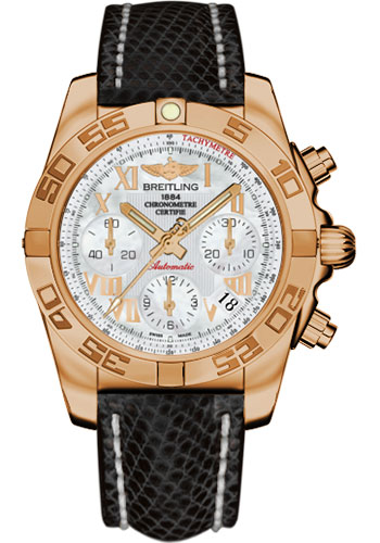 Breitling Watches - Chronomat 41 Rose Gold Polished Bezel - Lizard Strap - Tang - Style No: HB014012/A748-lizard-black-tang