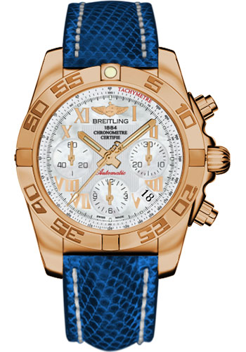 Breitling Watches - Chronomat 41 Rose Gold Polished Bezel - Lizard Strap - Deployant - Style No: HB014012/A748-lizard-blue-marine-deployant