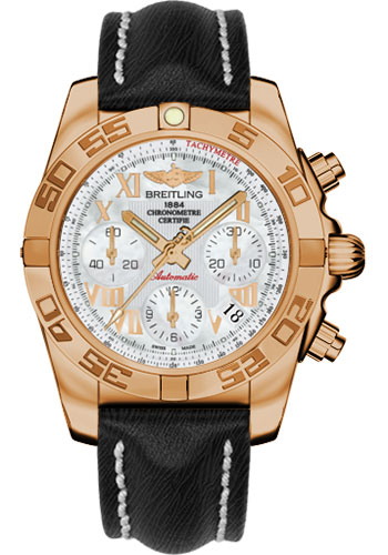 Breitling Watches - Chronomat 41 Rose Gold Polished Bezel - Sahara Leather Strap - Style No: HB014012/A748-sahara-black-tang