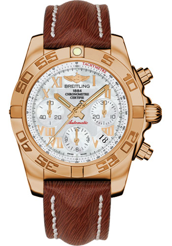 Breitling Watches - Chronomat 41 Rose Gold Polished Bezel - Sahara Leather Strap - Style No: HB014012/A748-sahara-brown-tang