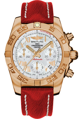 Breitling Watches - Chronomat 41 Rose Gold Polished Bezel - Sahara Leather Strap - Style No: HB014012/A748-sahara-red-tang