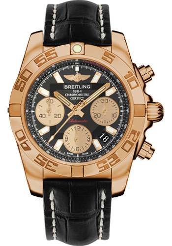 Breitling Watches - Chronomat 41 Rose Gold Polished Bezel - Croco Strap - Tang - Style No: HB014012/BA53-croco-black-tang