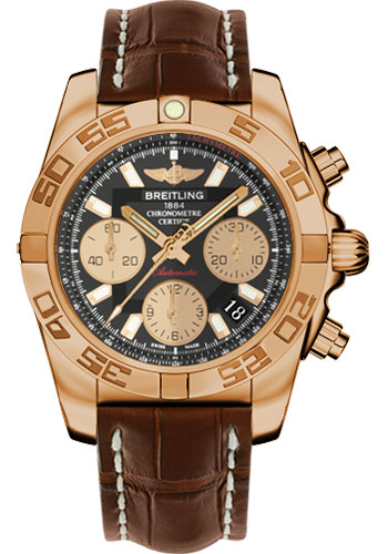 Breitling Watches - Chronomat 41 Rose Gold Polished Bezel - Croco Strap - Tang - Style No: HB014012/BA53-croco-brown-tang