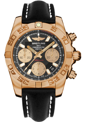 Breitling Watches - Chronomat 41 Rose Gold Polished Bezel - Leather Strap - Tang - Style No: HB014012/BA53-leather-black-tang